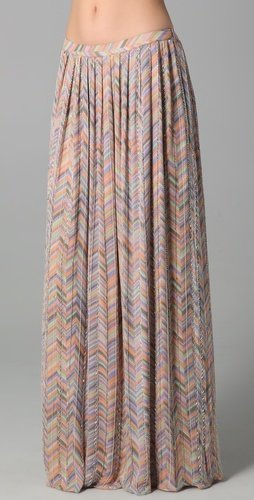 Parker Zigzag Beaded Long Skirt