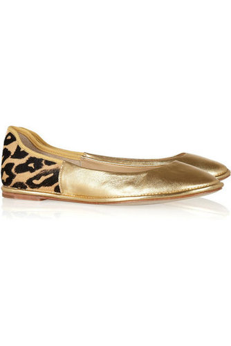 Diane von Furstenberg | Metallic leather and printed calf hair ballet flats | NET-A-PORTER.COM