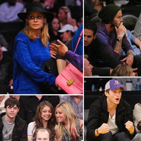 Nicole Richie, David Beckham, Ashton Kutcher Pictures at Lakers vs. Grizzlies Game