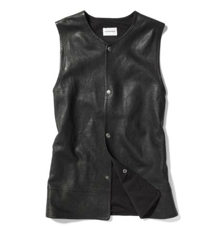 This leather vest is light enough for pairing with Spring dresses and floaty sleeveless tops.  Club Monaco Renee Leather Vest ($495)