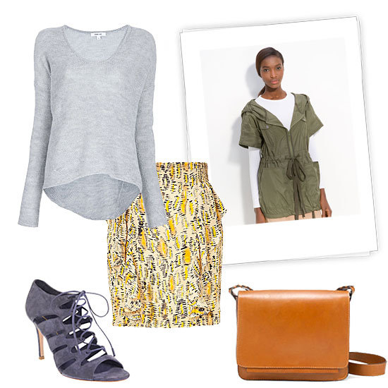 Give your office attire a dose of Spring print with a pretty pencil skirt, but don't skimp on the layers if the weather calls for it. Instead of a blouse, style up your seasonal bottom with a warmer knit and finish with an anorak. We love how a pair of lace-up stilettos offset the utility vibe of the jacket for polish that works at your nine to five.  Twenty8twelve Savanne Multicolor Printed Greenway Silk Skirt ($245), Helmut Lang Long Sleeve Sweater ($344), Cut25 Short Sleeve Hooded Anorak ($365), Gianvito Rossi Lace-Up Bootie ($790), Zara Messenger Bag With Plaited Handle ($100)
