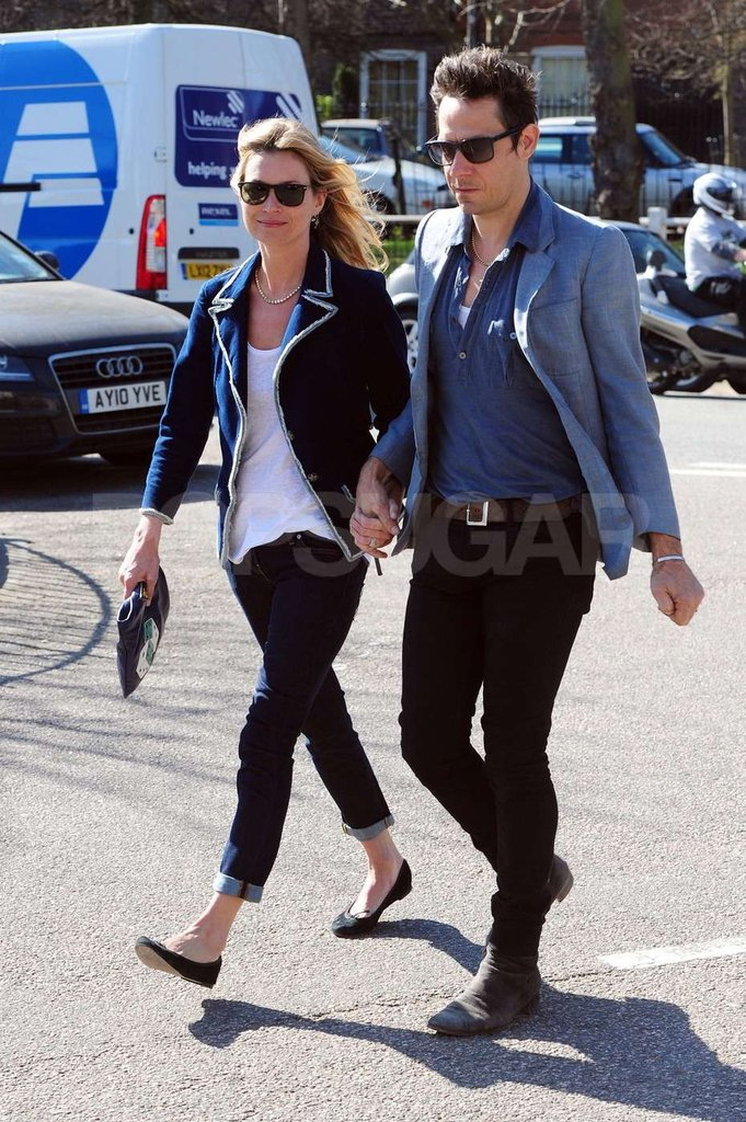 Kate Moss and Jamie Hince both wear blazers on a stroll near their London home.
