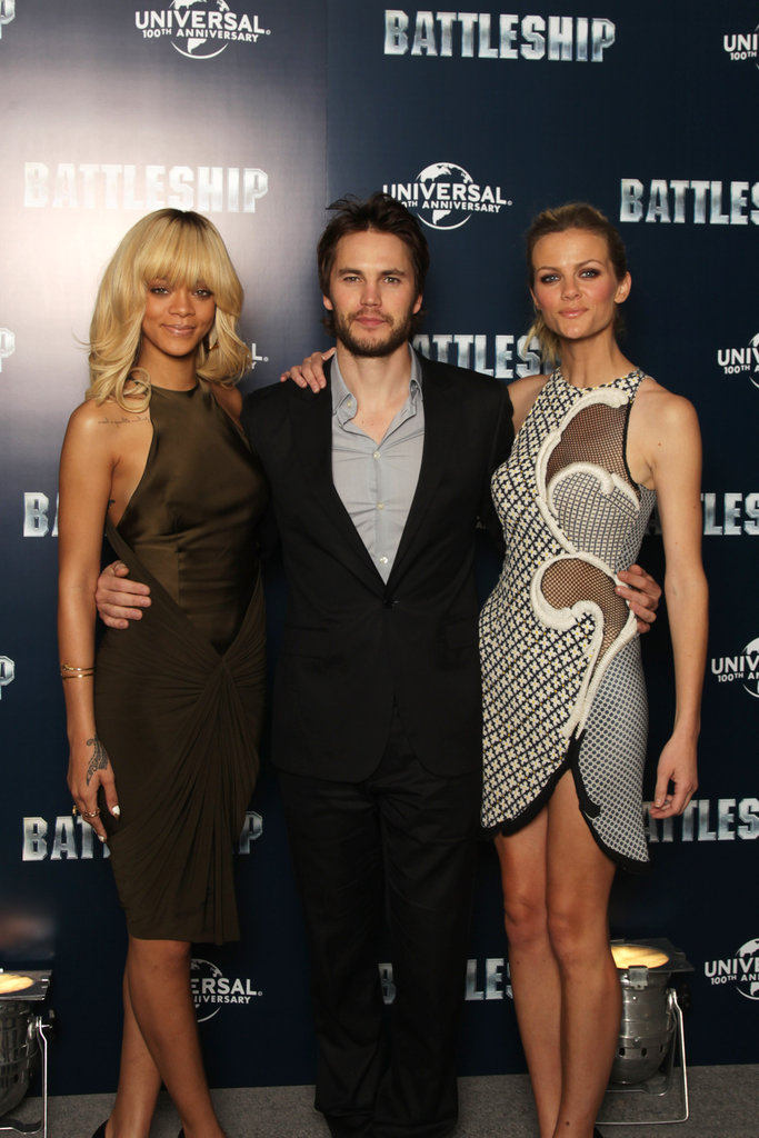 Rihanna, Taylor Kitsch, and Brooklyn Decker got together at a photocall for Battleship in London.