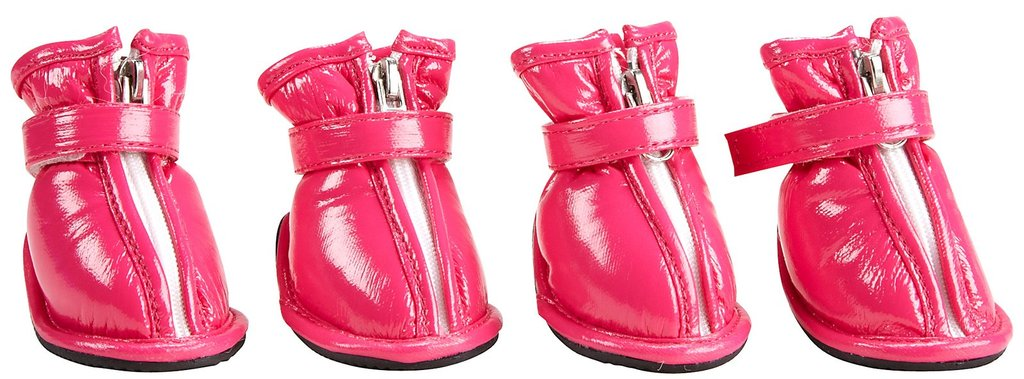 Dogit's rain boots ($23–$39) resemble slick patent leather and come in bubblegum pink and lipstick red.