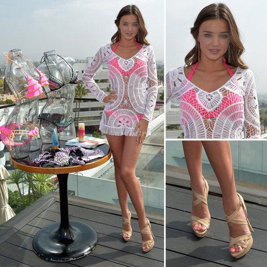 Miranda Kerr White Crochet Coverup