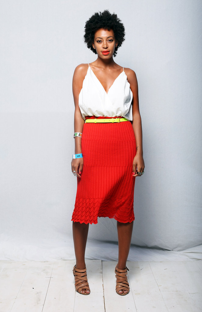 It's a fact: Solange knows how mix so-called plain pieces and make them into one hot ensemble. She tucked a low-cut white tank into a fire-engine-red pleated skirt and cinched the look with a yellow belt during the 2012 SXSW music festival. This is one color story we'd be happy to copy.