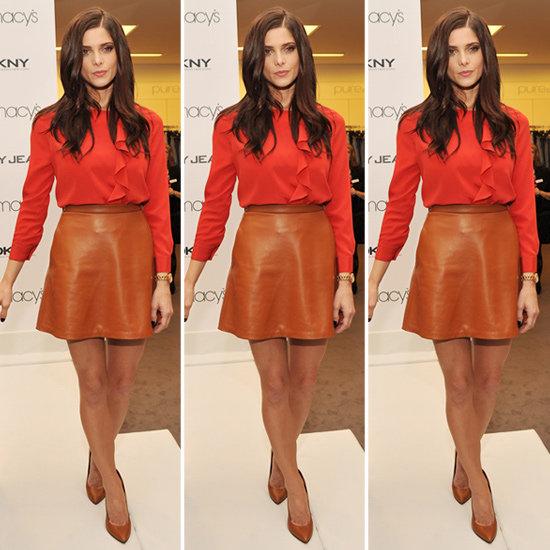 Ashley Greene Red Silk Ruffle Blouse