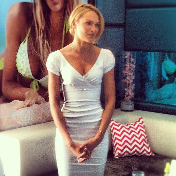 The gorgeous Candice Swanepoel chatted all things swim at Victoria's Secret's new swimwear fete in NYC.