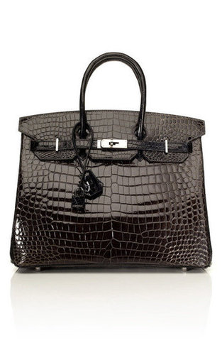 35cm Horseshoe Custom Order Shiny Two-Tone Black & Graphite Porosus Crocodile Birkin by Vintage Hermès | Moda Operandi