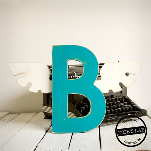 Winged Letter B Vintage Inspired Mod Art Deco -  Wood Wall Decor - Pick Your Letter and Color