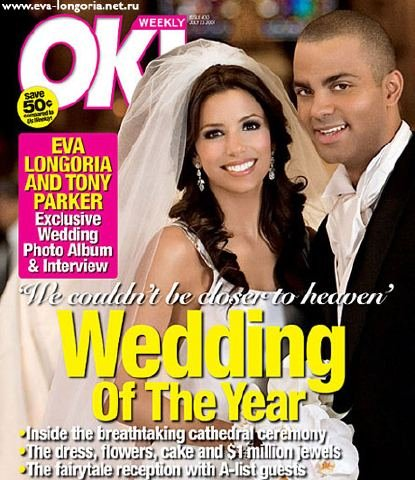 Eva Longoria and Tony Parker wed at a Paris city hall in July 2007 and published a picture in OK.