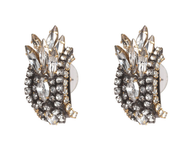 These stunners are just the thing to take your dress into black-tie territory.  Erickson Beamon Crystal Bette Davis Eyes Earrings ($355)