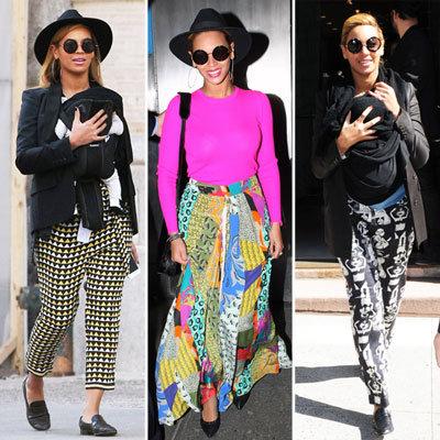 Beyonce in Colorful Printed Pants Spring 2012