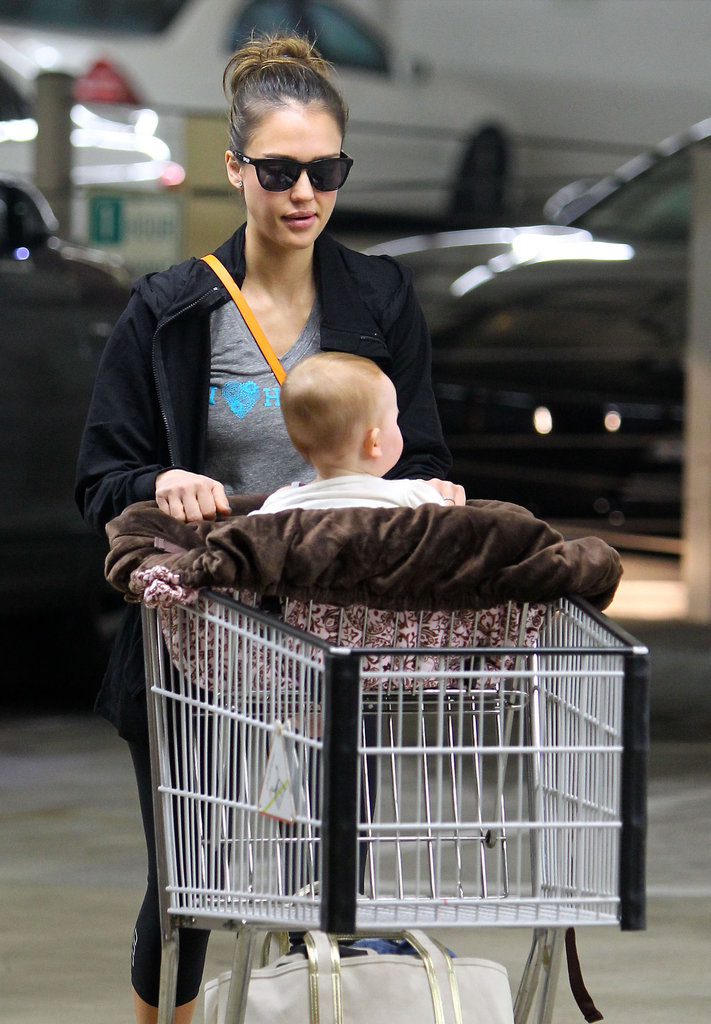 Jessica Alba pushed Haven Warren in the cart through the Whole Foods parking lot in LA.