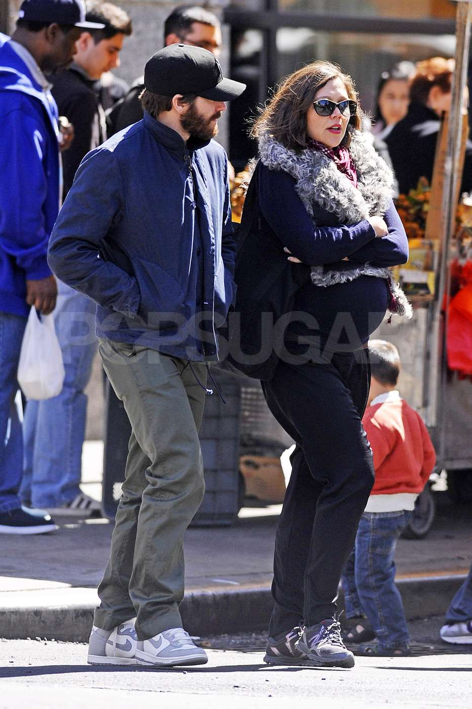 Jake Gyllenhaal chatted with pregnant sister Maggie Gyllenhaal as they took a stroll around NYC.
