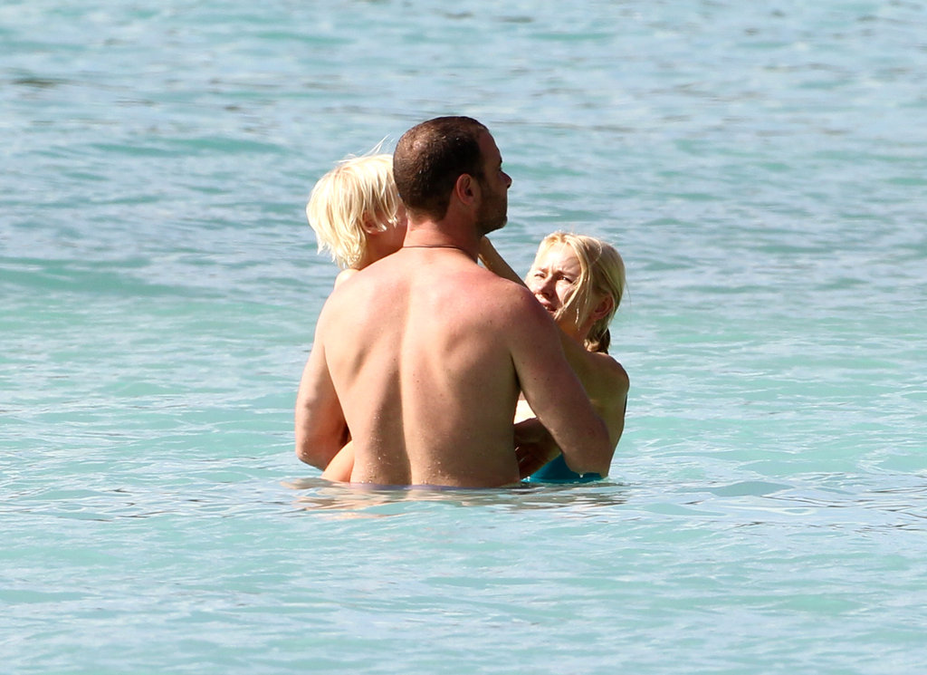 Naomi Watts and Liev Schreiber took a dip in Barbados with their son.