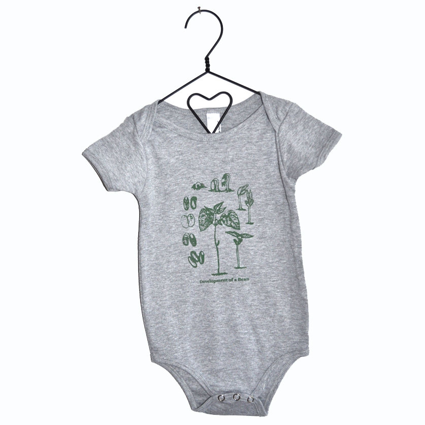 Ever wonder what the growth stages of a bean look like? Your baby bean can now wear this Organic About a Bean Onesie ($18) that showcases every botanical stage of a bean's development.