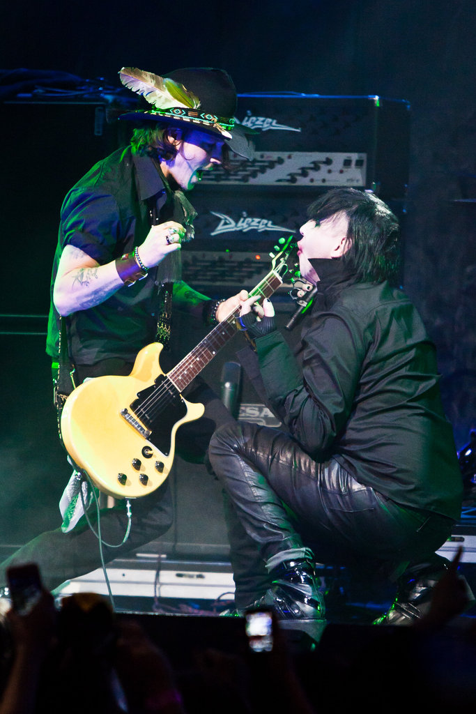 Johnny Depp performed with Marilyn Manson at the Revolver Golden God Awards in LA.