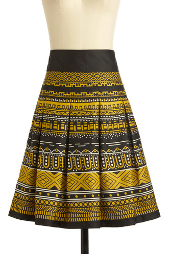 With clean pleats and a high waist, this skirt makes a gorgeous statement for a date night.   ModCloth Deco District Skirt ($50)