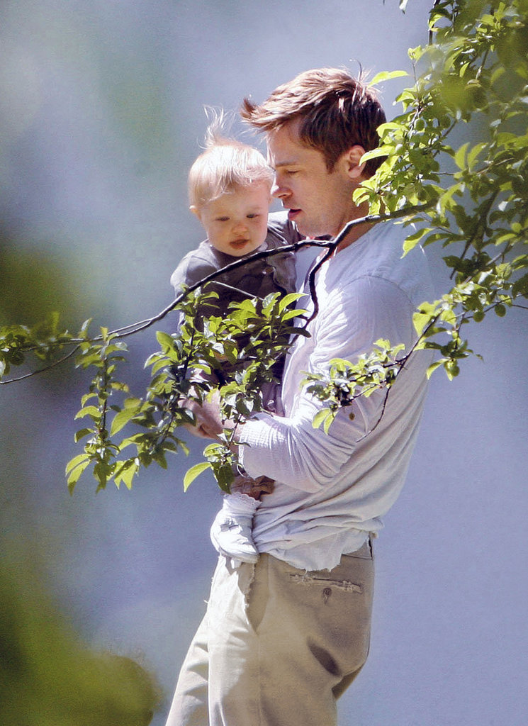 Brad Pitt held on to little Shiloh in Prague in May 2008.