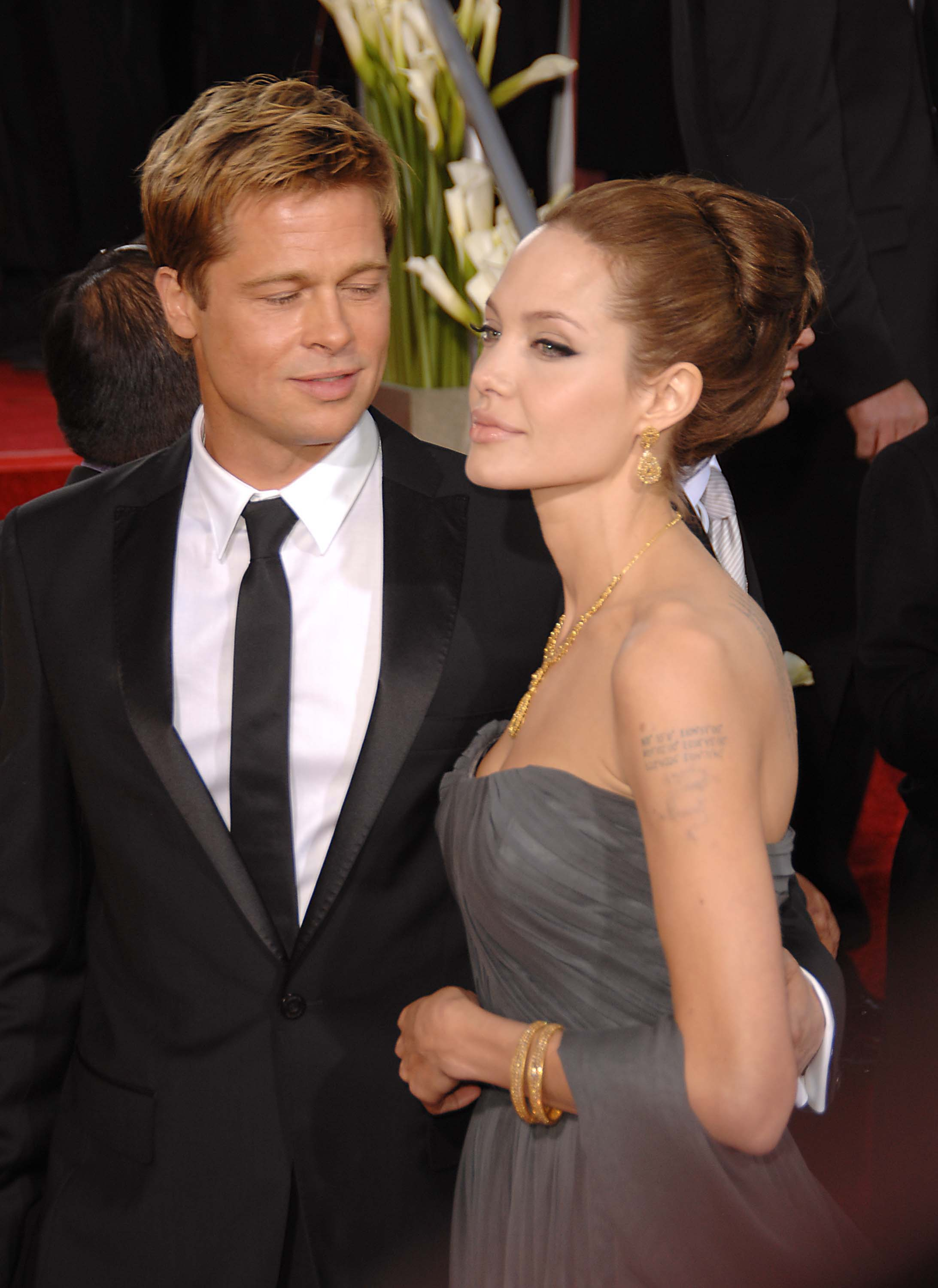 Brad Pitt was in awe of Angelina Jolie at the 2007 Golden Globe Awards in LA.
