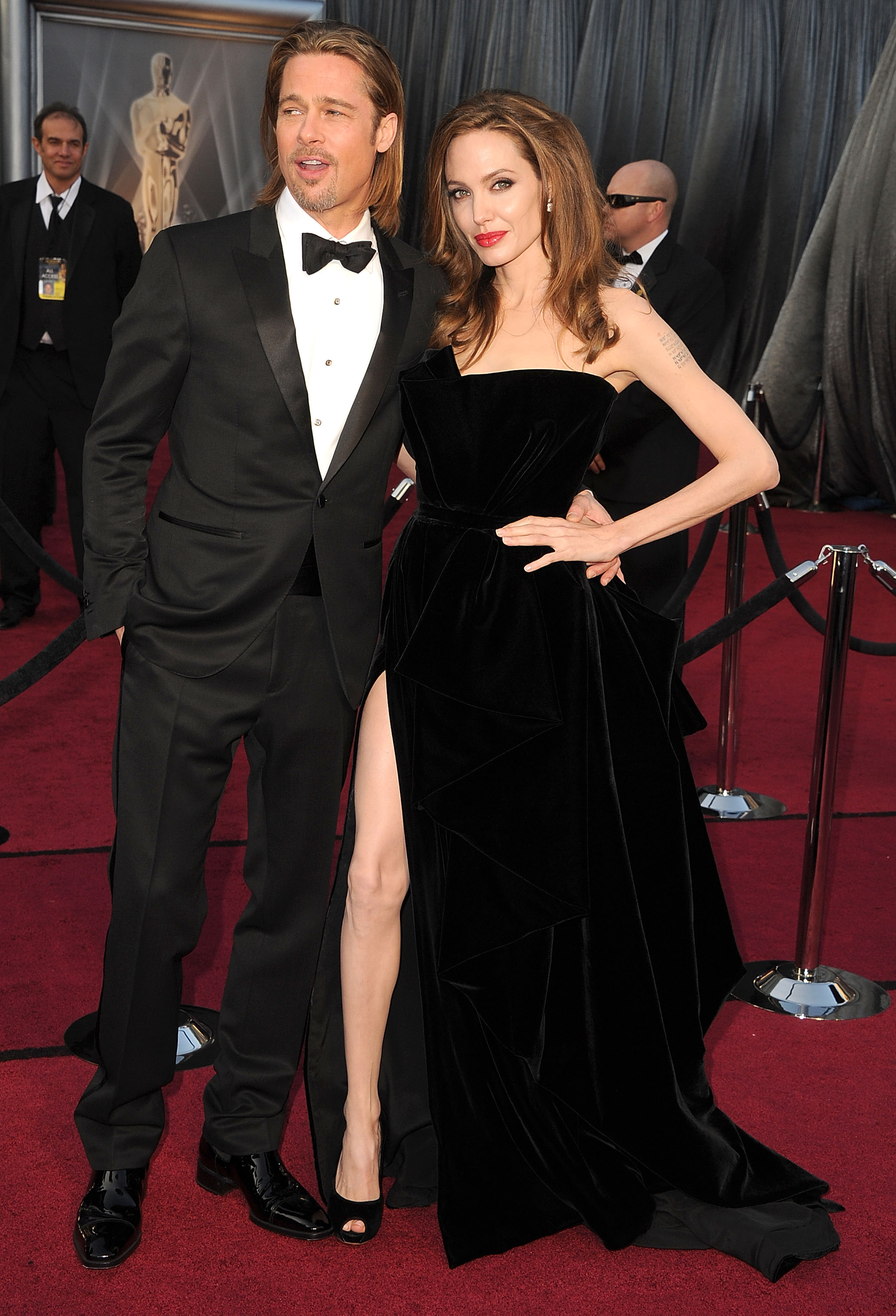 Angelina Jolie's right leg was a popular topic at the 2012 Oscar Awards.