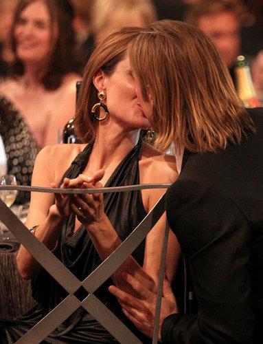 Angelina Jolie and Brad Pitt kissed during the January 2012 SAG Awards.