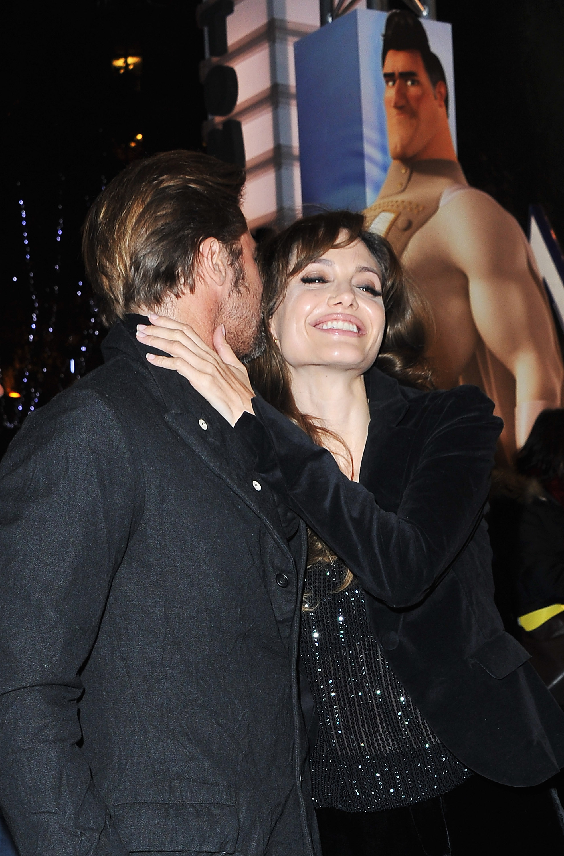 Brad Pitt whispered into Angelina Jolie's ear at the November 2010 Paris premiere of his animated film Megamind.