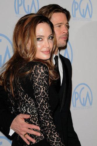 Brad Pitt put a loving arm around Angelina Jolie at the January 2012 Producers Guild Awards.