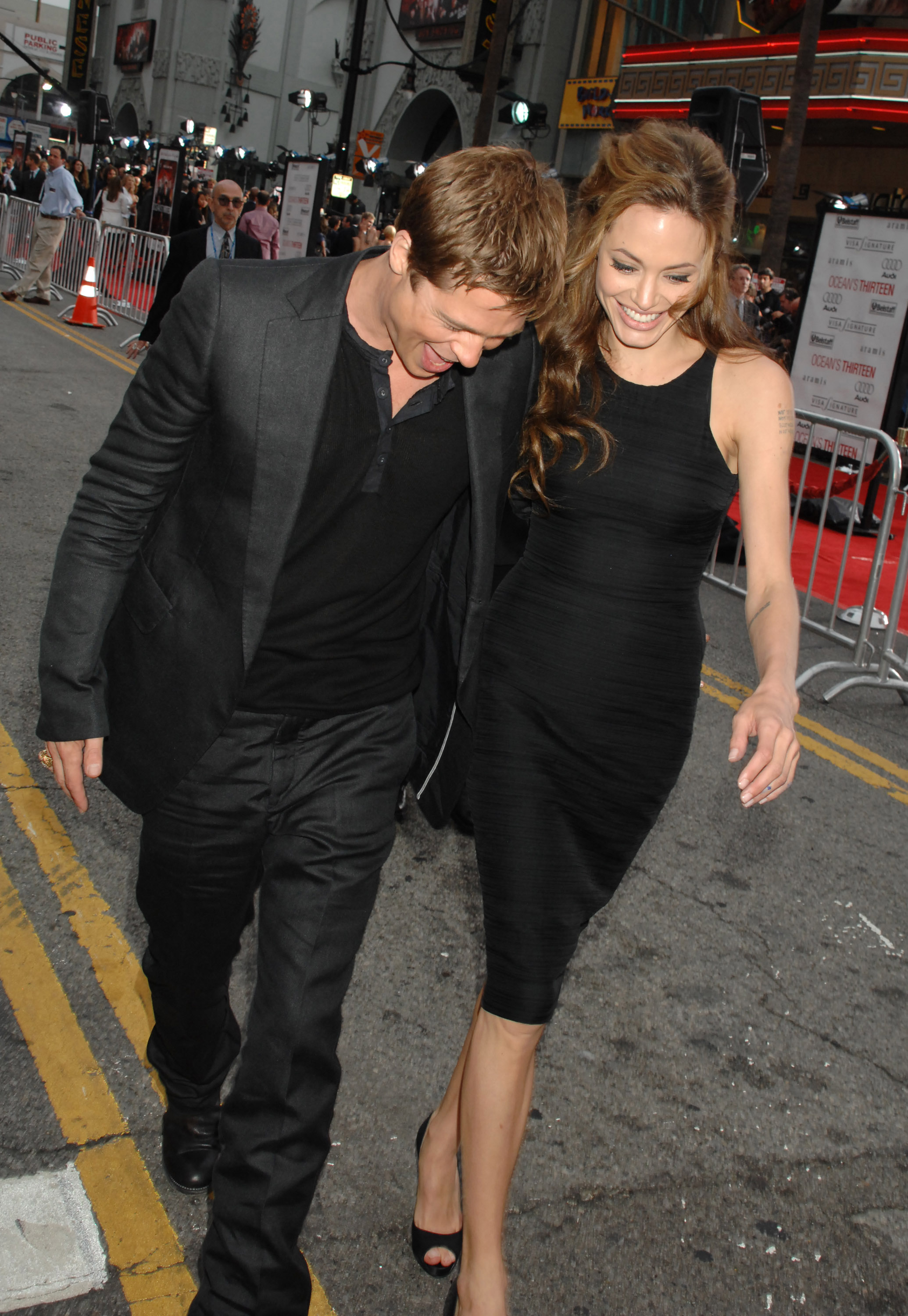 Brad Pitt and Angelina Jolie were full of laughs at the June 2007 LA premiere of his Ocean's Thirteen.