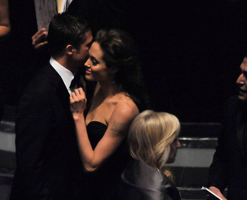 Angelina Jolie and Brad Pitt stuck close inside the February 2009 Academy Awards.