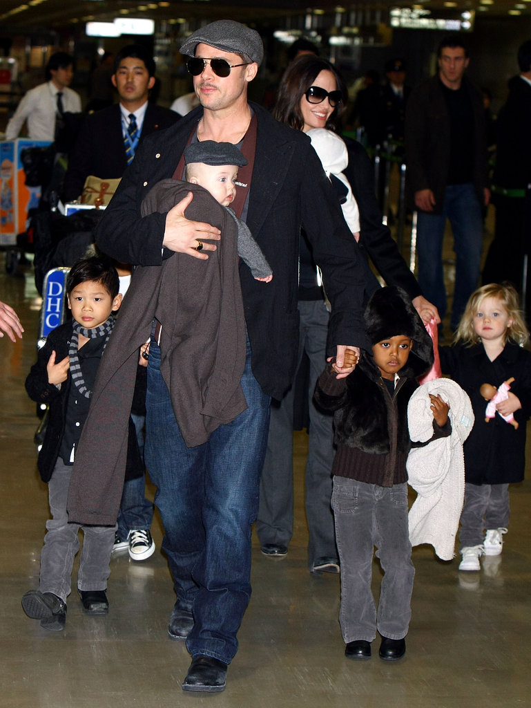 The whole Jolie-Pitt family caused a scene upon landing at Japan's Narita International Airport in January 2009.