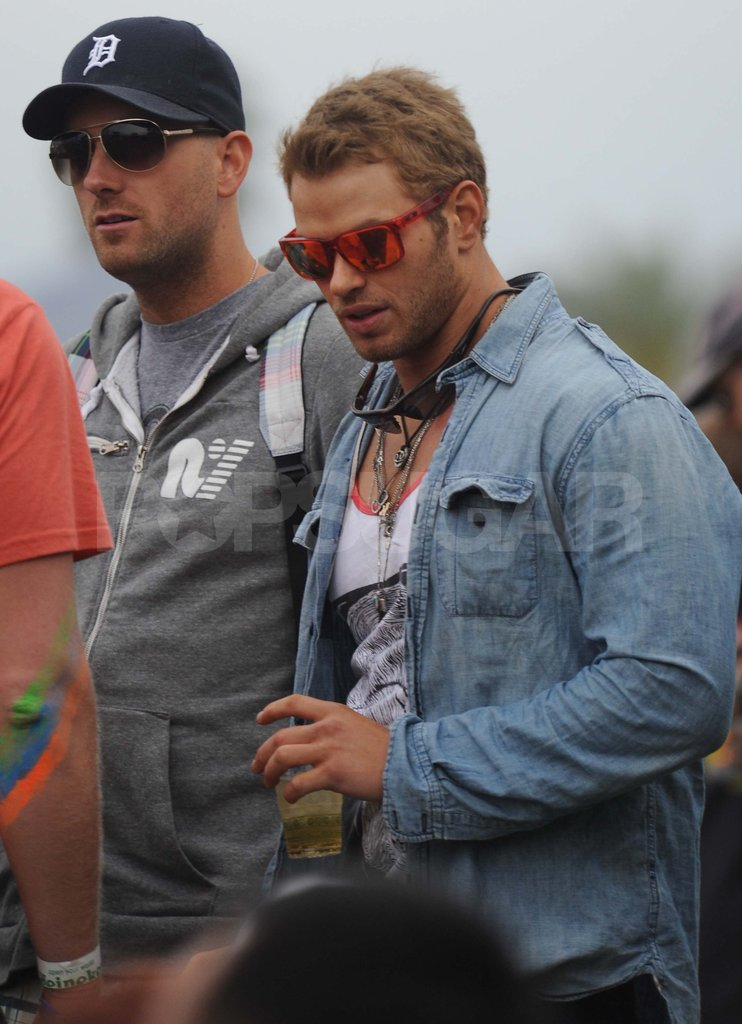 Kellan Lutz doubled up on sunglasses for Coachella on Friday.