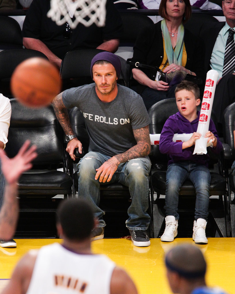 David Beckham and Cruz Beckham sat courtside at the Lakers game in LA.
