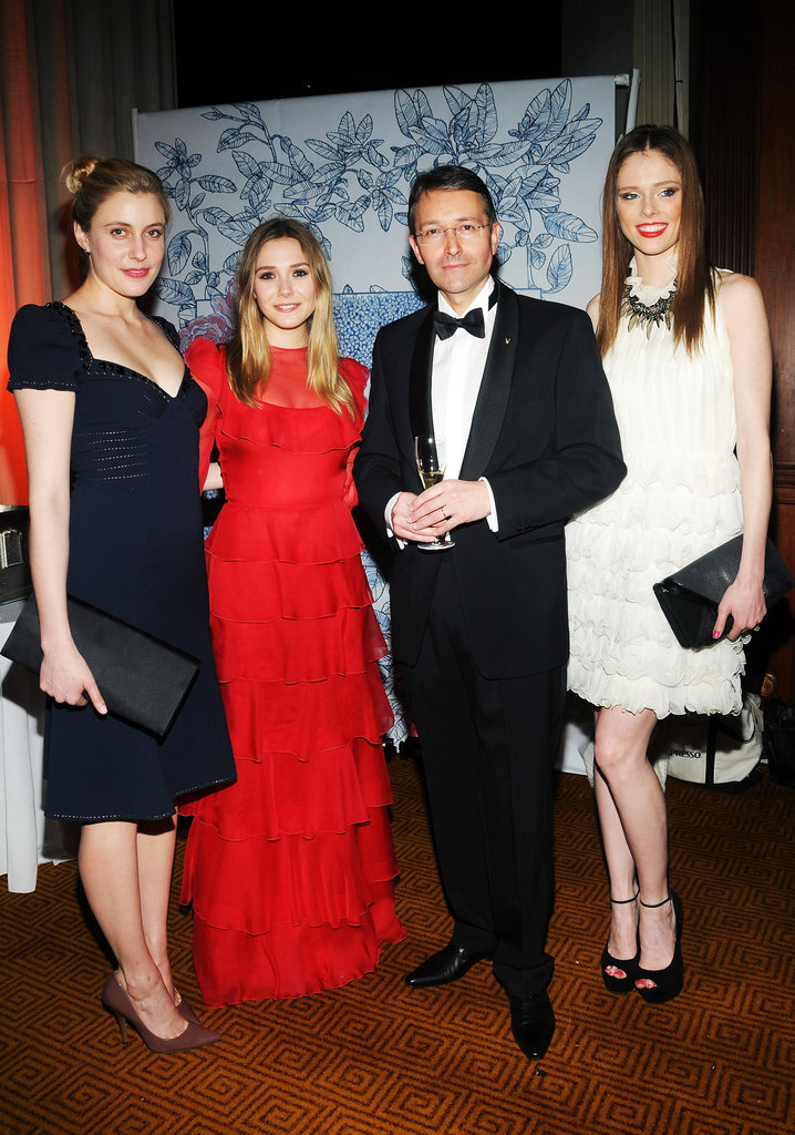 Jean-François Ferret, Elizabeth Olsen, Greta Gerwig, and model Coco Rocha posed together at the Grand Chefs Dinner in NYC.