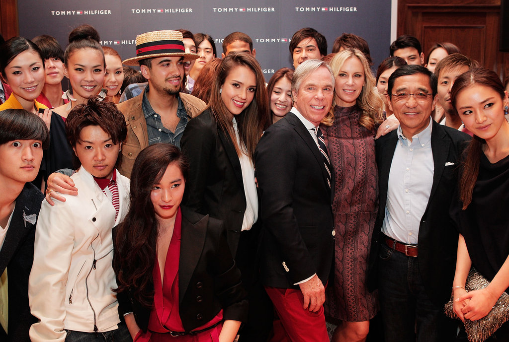 Jessica Alba posed with the designer and fans.