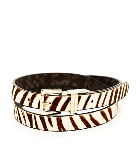 Exotic yet comfortable and effortless, the zebra print lends itself to versatile style options. Wear it high on the waist with a flowy skirt or low on the hips with shorts or jeans.  Michael by Michael Kors Zebra-Print Calf Hair Belt ($48)