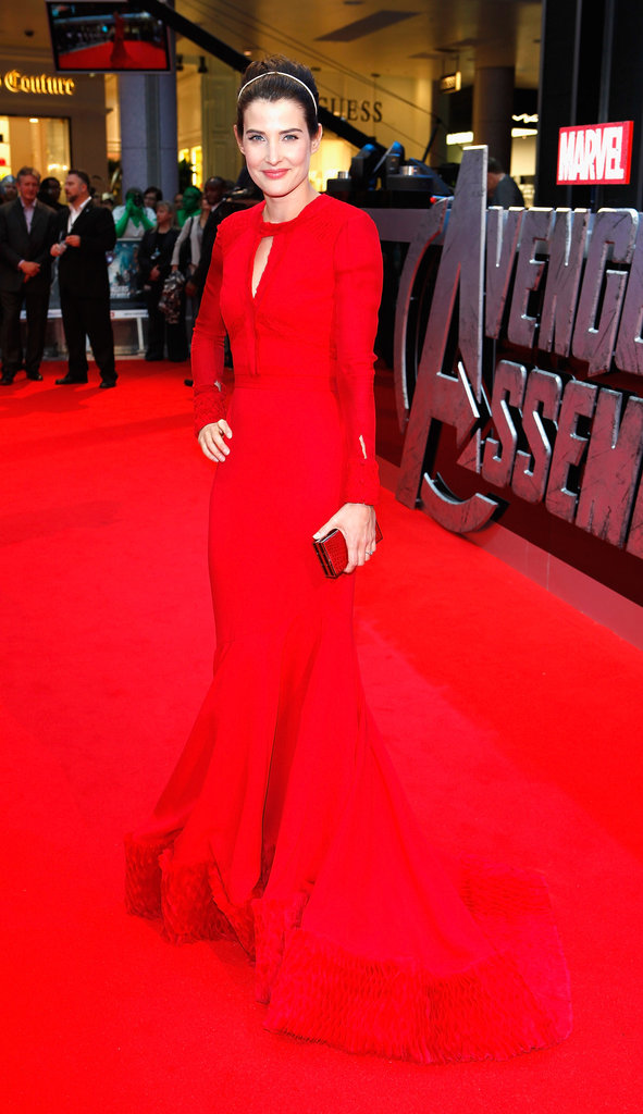Cobie Smulders wore a red gown in London for the premiere of The Avengers.