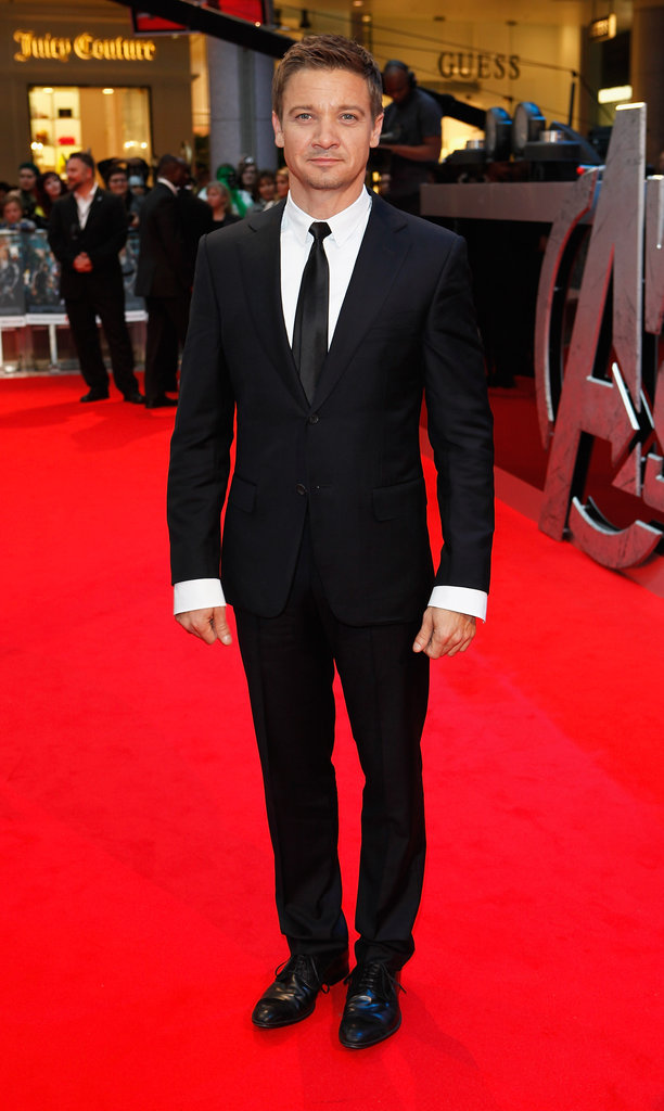 Jeremy Renner flashed a smile at the premiere of The Avengers in London.