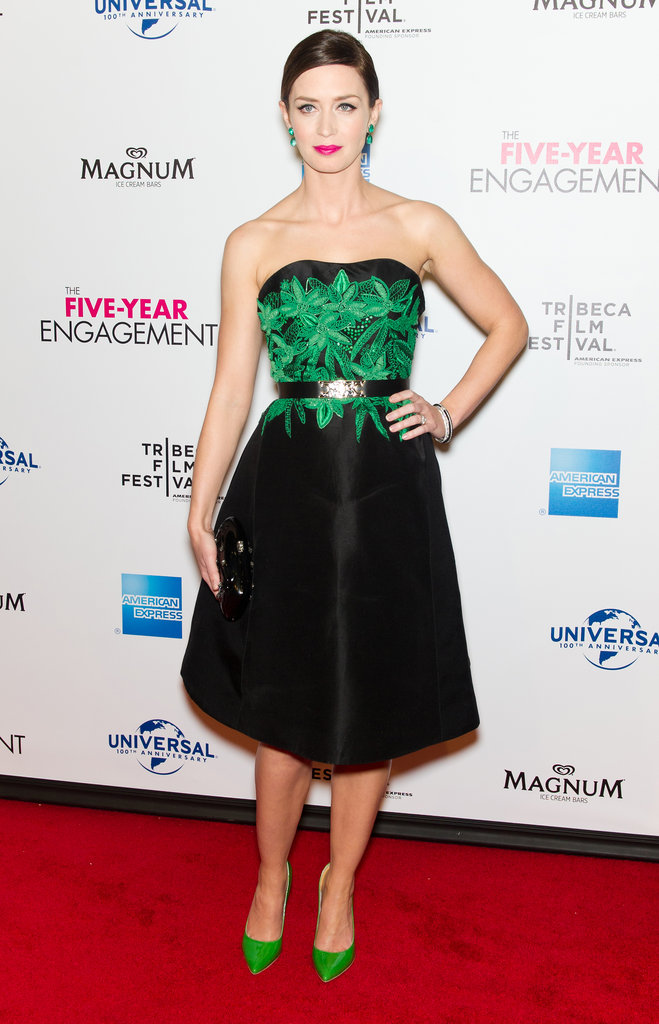 Emily Blunt stepped out in a pre-Fall '12 Jason Wu strapless frock, complete with green fauna embellishments on the bodice. To cinch the dress even more, she added a silver-buckled belt at the waist, and to accessorize, she wore emerald Alice + Olivia pumps and toted a Valentino clutch from the brand's Noir capsule collection.