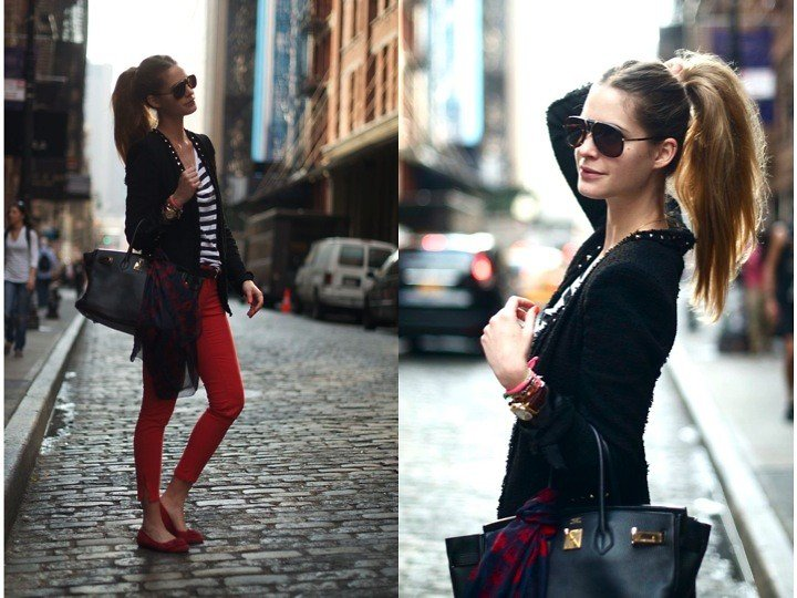 Channel a preppier version of off-duty style — stripes, reds, and a printed scarf to go with.   Photo courtesy of Lookbook.nu