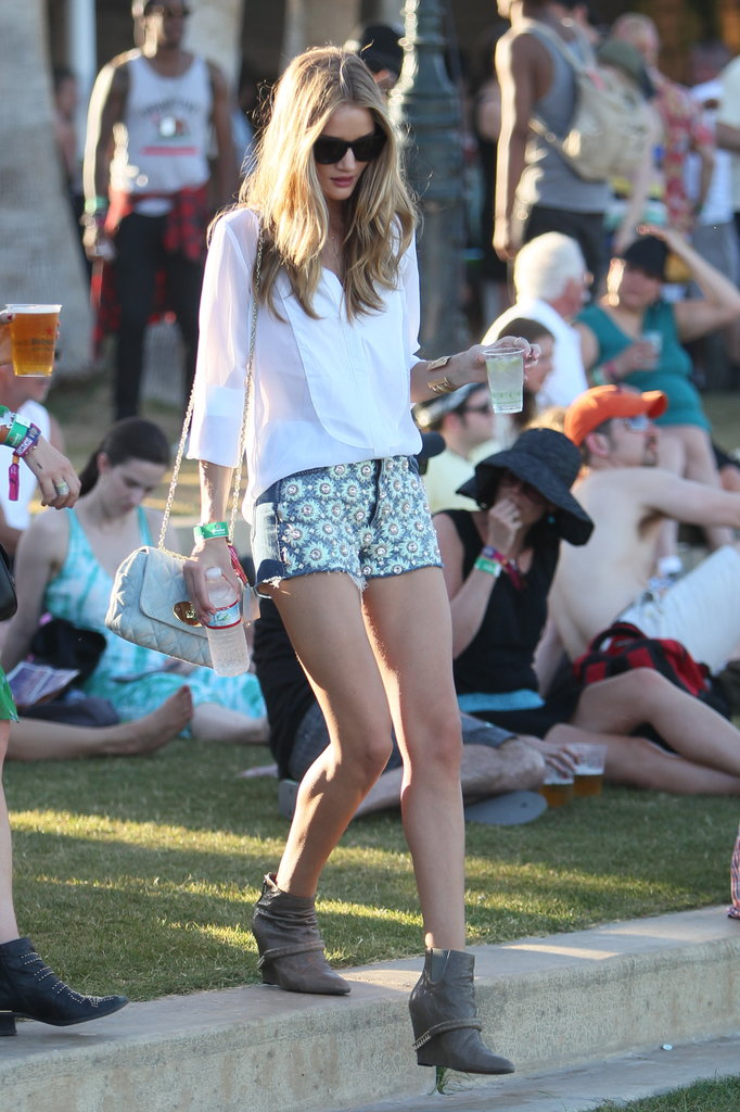 Rosie Huntington-Whiteley looked fashionable at Coachella's second weekend in 2012.