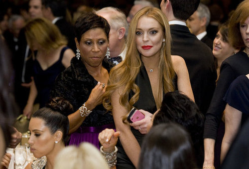 Lindsay Lohan wore a bright red lip to the event.