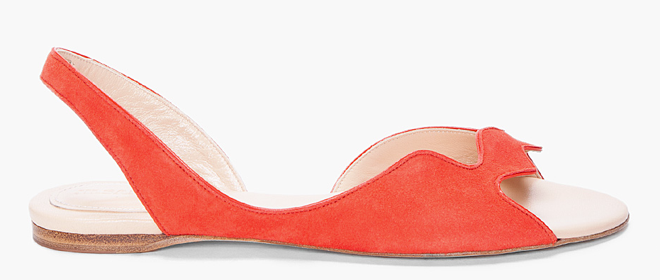 We couldn't resist the edgy look of these scalloped red sandals. Worn with a pair of white skinny jeans, they will really stand out. Jil Sander Red Scalloped Sandal ($650)