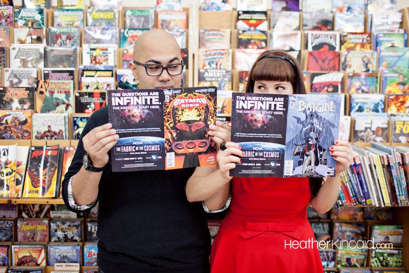 Show off your comic book street cred by holding the engagement photo session in a favorite bookstore.  Photo: Heather Kincaid