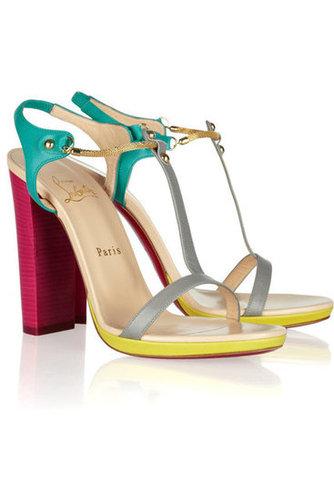 Christian Louboutin|Sylvieta 120 color-block leather sandals|NET-A-PORTER.COM