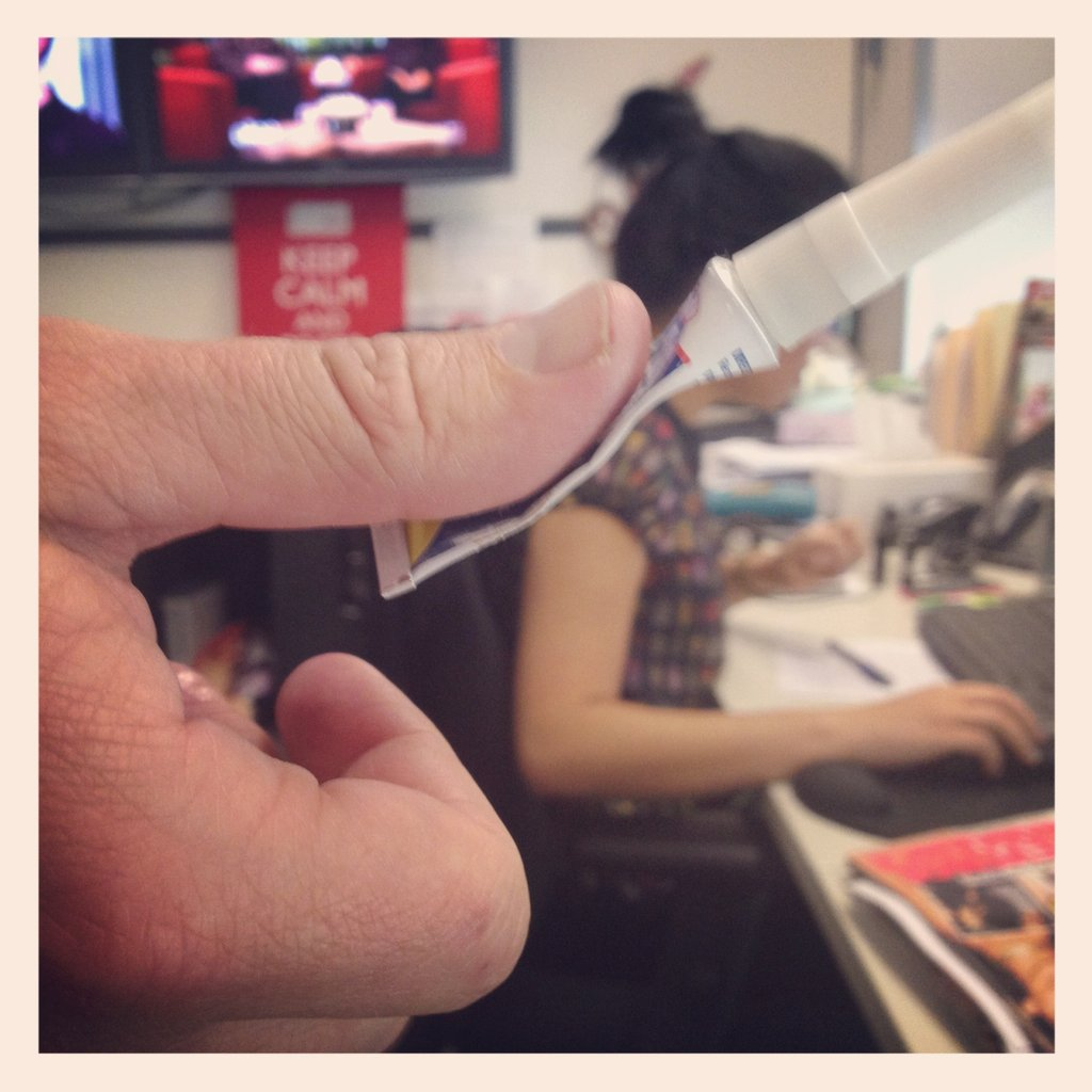 Our Managing Director Chris got a little too cray-cray with the super glue...