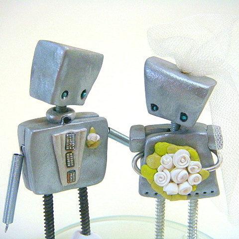 Robot Wedding Cake Toppers