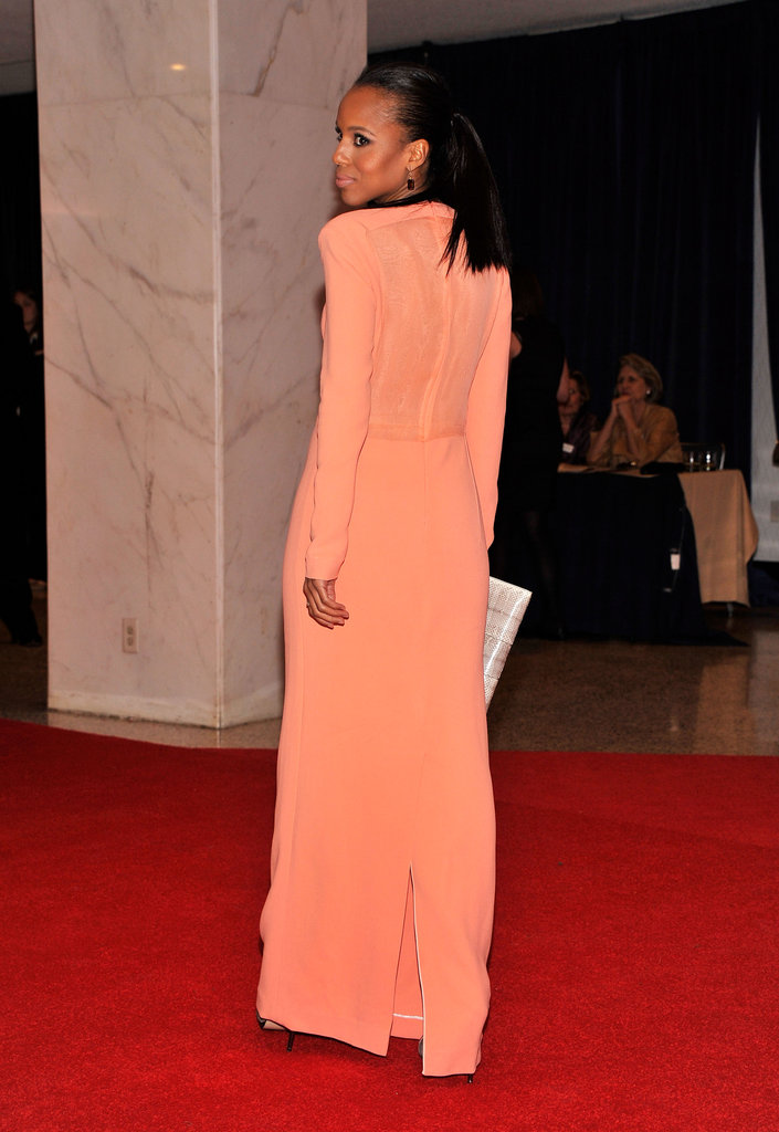Kerry Washington showed off her coral gown.