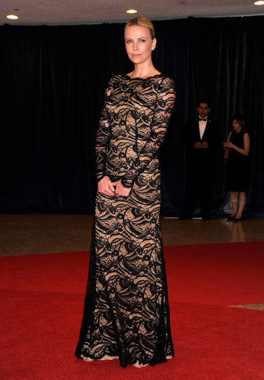 Charlize Theron Looks Gorgeous in Lace at the White House Dinner